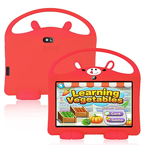 GAOword Tableta para niños 16GB Procesador de Cuatro núcleos WiFi Dual Cámara Reproducción Control Parental Tapa Protectora a Prueba de choques niños