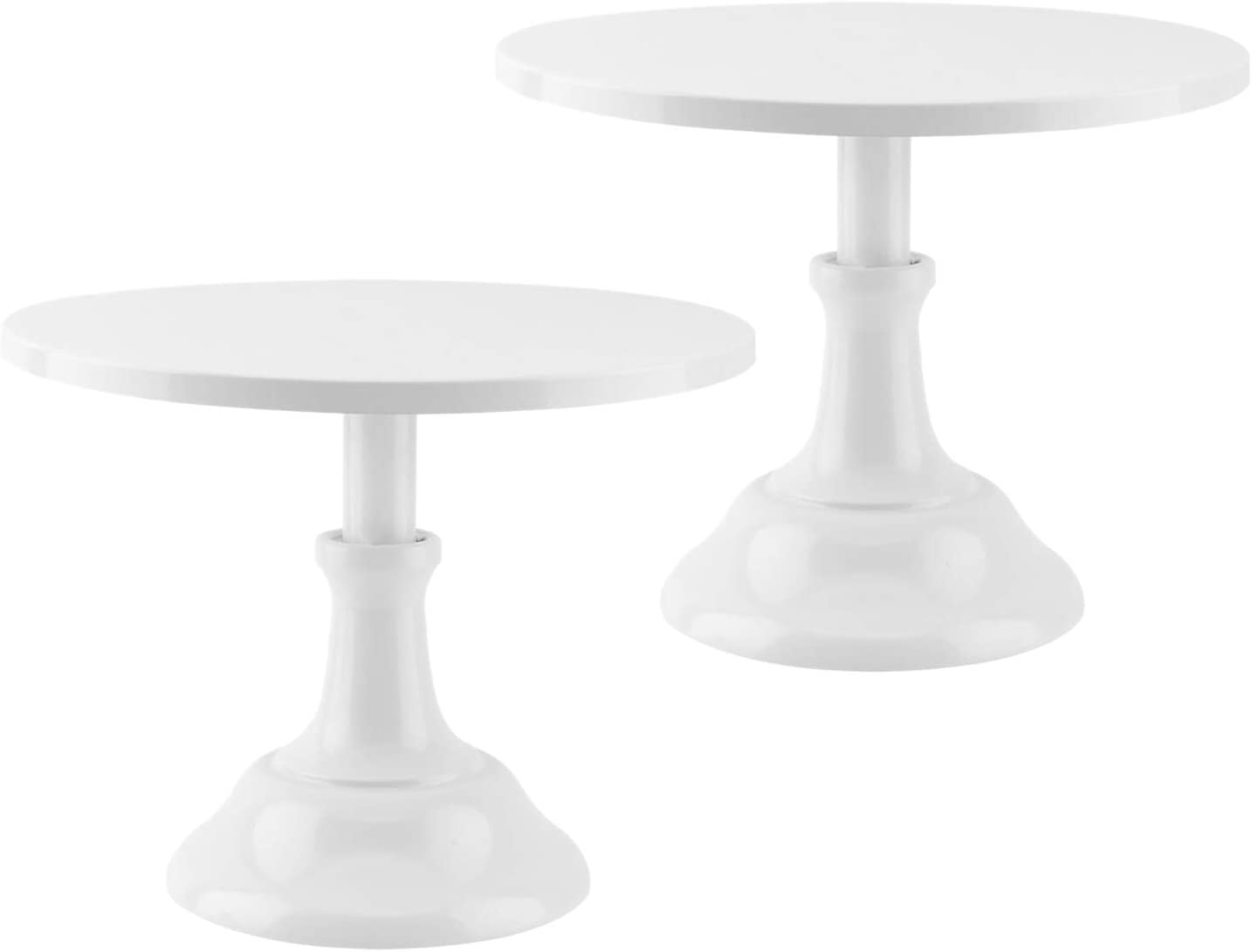 KENTLI 2-Set 10Inch Cake Stand Round Metal Cupcake Stand Dessert Stands Candy Display Tray for Wedding Party Birthday Celebration (White)