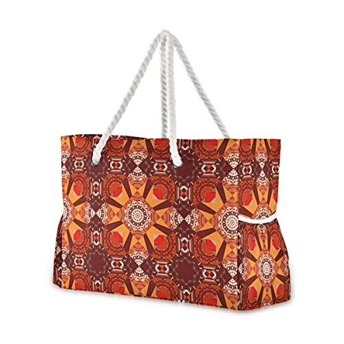 Bolsas de playa grandes Totes de lona, bolsa de hombro con mandala indio, quatrefoil floral, resistente al agua, para gimnasio, viajes diarios
