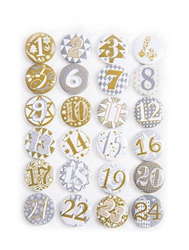 1a kwaliteit! 24 Adventskalender buttons in zilver goud adventskalendercijfers om zelf te knutselen 1 tot 24 stickers van aluminium metaal plaatstaal - met een naald achter DIY nummers shabby cic