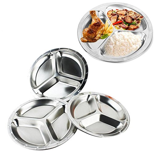HK Home 3 Section Stainless Steel Portion Control Divider Plate -Picnics, Camping, Barbecue, 26cm & Smiley Face Magnet