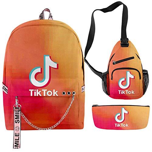 TIK TOK en Color 3D Nuevo Conjunto de Mochila Mochila Hombres y Mujeres Mochila Escolar Mochila Neutral Entrenamiento Danza Deportes Mochila Escolar