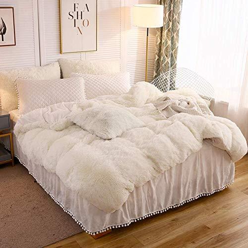 Michorinee Plüsch Bettwäsche 200x220 Winter Flauschig Warme Bettbezug Fleece Flausch Langhaar Kunstfell Plüschbettwäsche Set mit Reißverschluss - 200 x 220 cm + 2 x 80 x 80 cm Creme Weiß