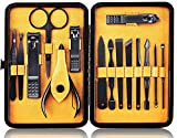 QLNE Nail Cutter Pedicure Kit Nail Clippers Sets High density Stainless Steel Nail File Sharp Nail Scissors and Clipper Manicure Pedicure Kit Fingernails & Toenails with Portable Stylish Case (yellow)