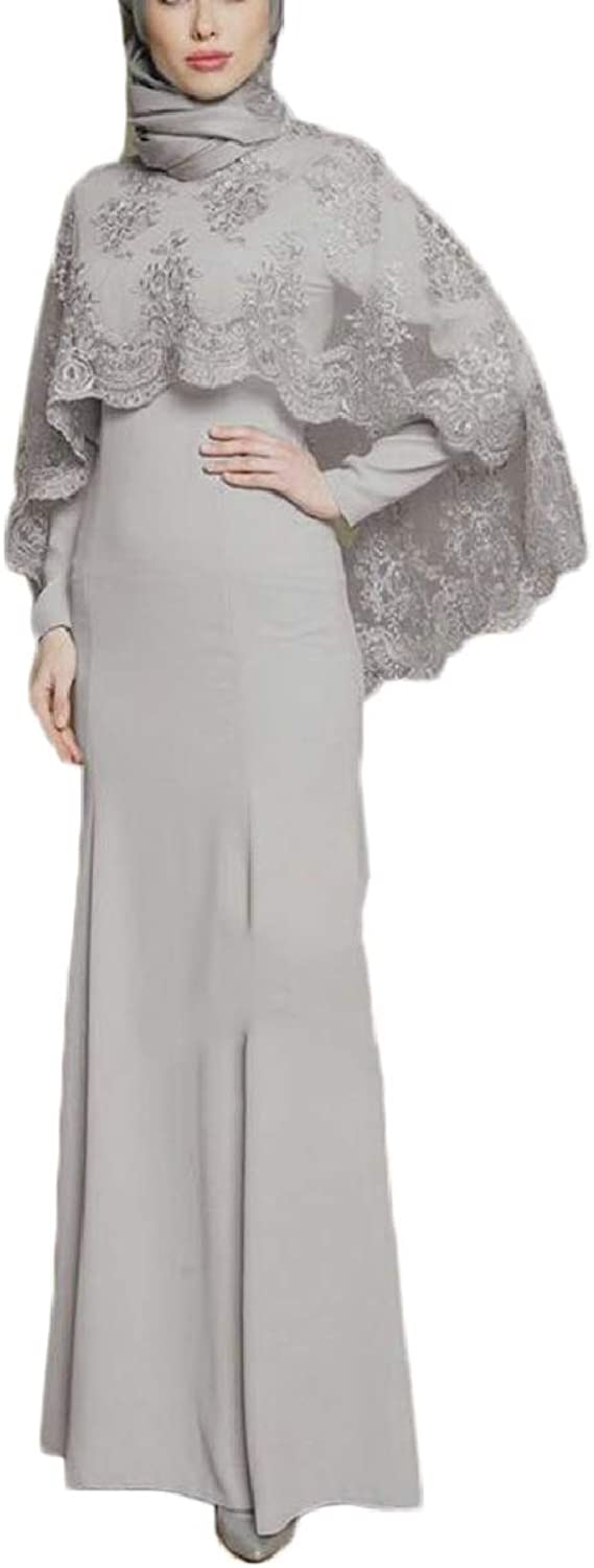 ZXFHZSCA Womens Muslim Embroidered Solid color Gulben Festival Robe Long Dress