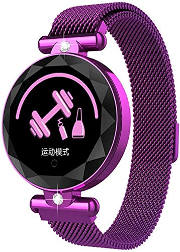 ZHENAO Smart Watch For Women, 1.04 Pulgadas Pantalla Fitness Tracker, Pulsera Del Podómetro de Deportes, Mensaje de Recordatorio de Ciclo Menstrual Femenino Push-Purple Exquisito /