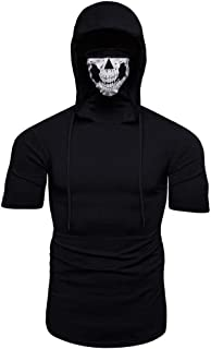 Skull Mask Hooded Short Sleeve Shirt Men Solid Color Casual Fashion Top