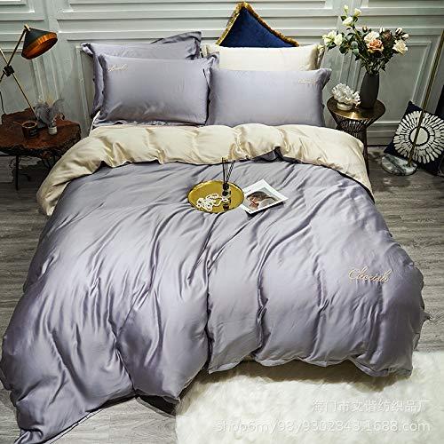 Yaonuli 4-delige beddengoedset Tencel van zijde, lichtgrijs, voor bed 2,0 m (dekbedovertrek 220 x 240)