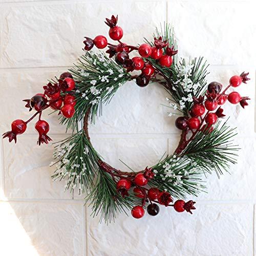 Yiwa slinger in Berry vorm, kunstmatige planten, met groene bladeren, voor raamdecoratie aan de kerstdeur