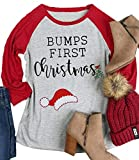 Bumps First Christmas Maternity T Shirt Women Funny Cute Santa Hat Holiday Party Tee for Pregnant Women Size XXL (Red)