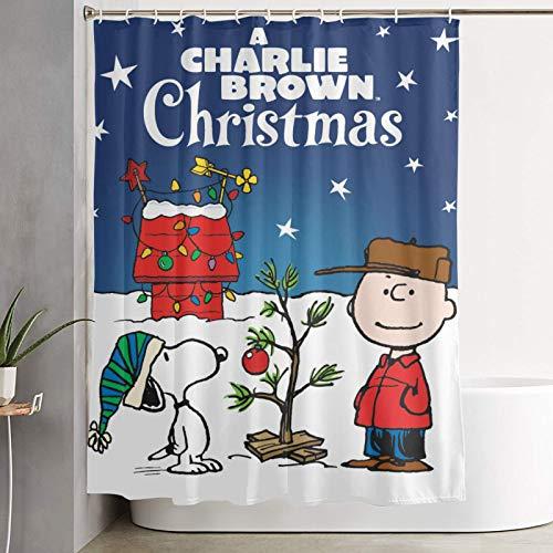 PLUAN S-noopy Weihnachts-Duschvorhänge, haltbarer wasserdichter Stoff, Polyester, Badezimmer-Gardinen, dekoratives Badezimmer mit 12 Haken, 152,4 x 182,9 cm