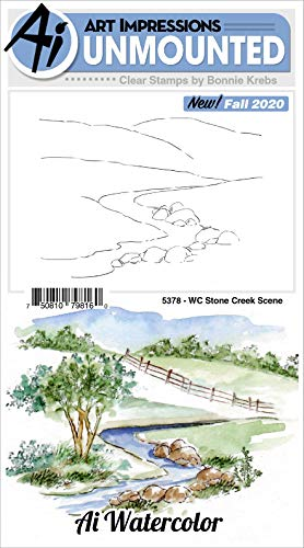 Stone Creek Watercolor Scene Stamp Art Impressions