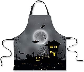 Cozeyat Halloween Apron Pumpkin Grave Bats Gothic Castle Unisex Kitchen Bib Cooking BBQ Ornaments Design, 26.3'' X29.5'' with Adjustable Neck