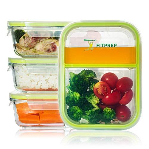 FITPREP® - Frischhaltedosen aus Glas [4 Stück-1040 ml] - 2 komplett dichte & getrennte Fächer - perfekte Meal Prep Boxen, inkl. schönem Rezeptheft - tolle Glasbehälter mit Deckel