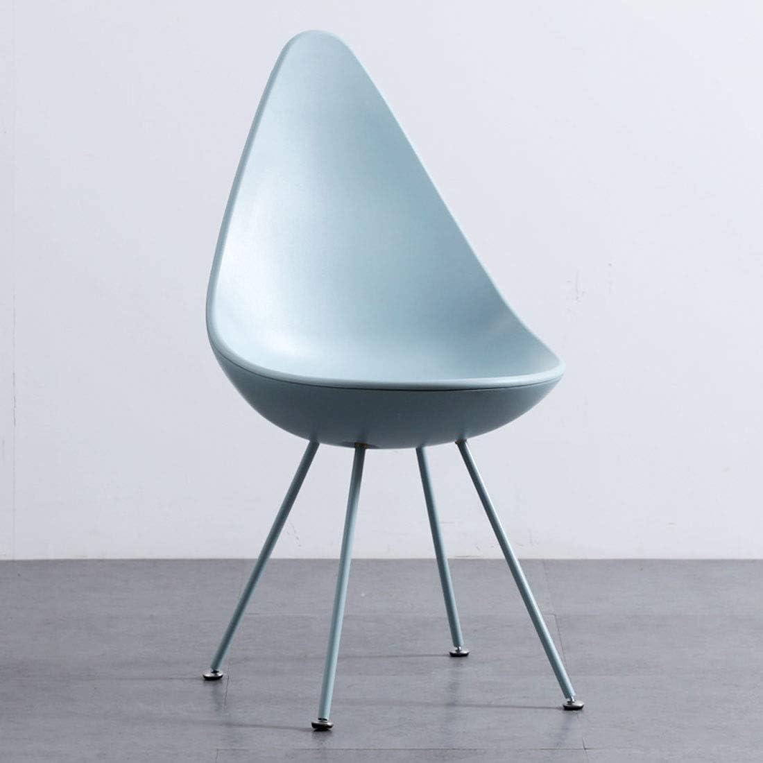 Style nordique PP Chaises salle à manger, Chaises de cuisine Ensemble de 1 Chaises Café en plastique avec pieds en métal PP Dossier Y1108 (Color : Bleu) Bleu