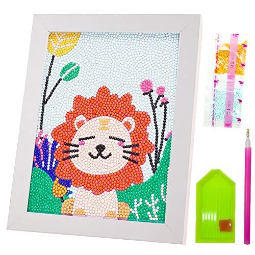 Diamant Malerei Kinder Set, Cute Lion Diamond Art Komplett-Kits mit Rahmen 5D Resin Diy Diamond Painting Kits für Kinder über 5 Jahren, mit 30% zusätzlichen Diamanten (7 * 9in)