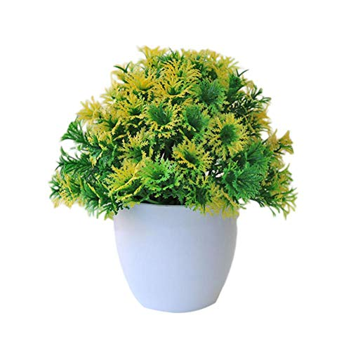 cuffslee Bonsai Artificial Flores De Piso Plantas Bonsai Macetas Artificiales Bonsai De Bola De Hierba
