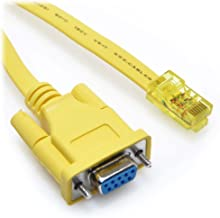 15 Foot Yellow DB9 Female to RJ45 Male Rollover Console Cable for Cisco by CableRack