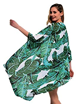 Soul Young Women s Floral Kimono Cardigan Swimsuit Beach Cover up with Open Front Dress Beachwear for Summer M,Green Leaf