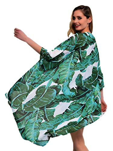 soul young Women's Floral Kimono Cardigan Swimsuit Beach Cover up with Open Front Dress Beachwear for Summer(XL,Green Leaf)