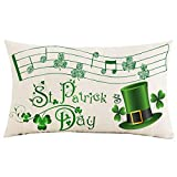 Jimrou Throw Pillow Cover 12x20inches Festival Gifts St. Patrick's Day Musical Note Green Clovers Hat Spring Faux Cotton Linen Decorative Home Sofa Chair Car Throw Pillow Case Cushion Cover