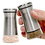 Premium Salt and Pepper Shakers with Adjustable Pour Holes - Elegant Stainless Steel Salt and Pepper Dispenser - Perfect for Himalayan, Kosher and Sea Salts - Spices