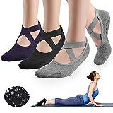 GOAMZ Yoga Socks, 3 Pairs Non Slip Pilates Socks for Women with Grips