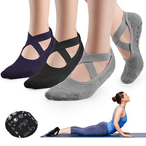 GOAMZ Calcetines Pilates Yoga,3 Pcs Calcetines Yoga Antideslizantes Mujer,Deportivos para Ejercicio Interior,Yoga, Pilates, Ballet,Fitness Antideslizantes (EU35-41)