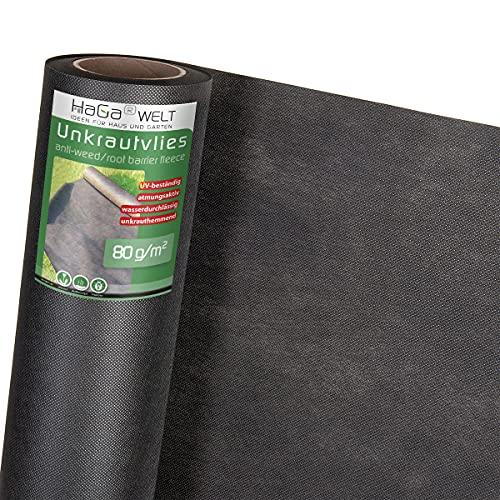 HaGa® Toile de protection contre les mauvaises herbes - 80 g/m² - 1,6 x 20 m