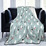 Flannel Fleece Throw Blanket,Moomin Pattern Personalised Soft Warm Fuzzy Lightweight Blankets for Adult Kids Christmas Birthday G-i-f-t 80'x60'
