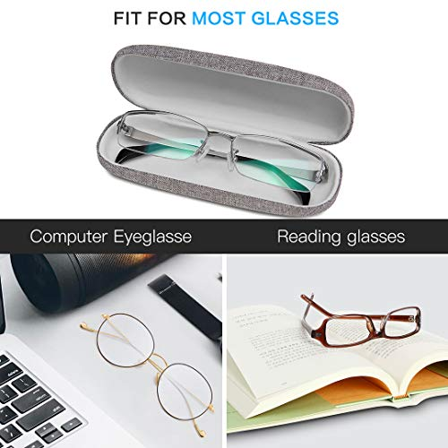 Kono Hard Shell Eyeglasses Case Portable Protective Case for Glasses and Sunglasses Storage (Grey)