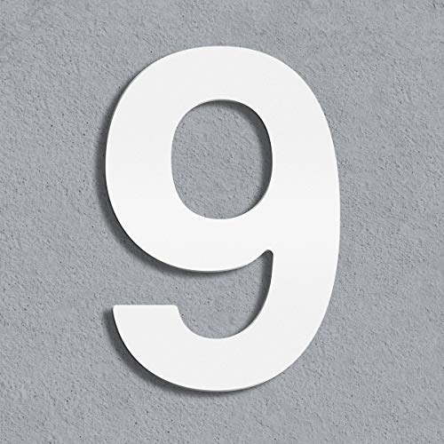 Thorwa® moderne Design Edelstahl Hausnummer Helvetica, weiß pulverbeschichtet, H: 200mm, RAL 9003 (9)