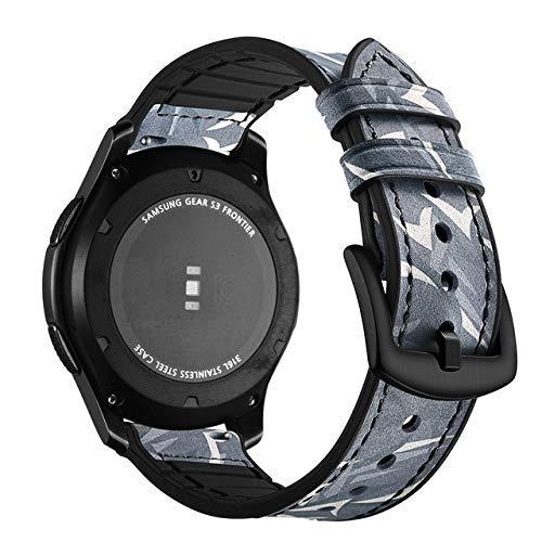Correa de reloj de piel auténtica de 20 mm y 22 mm para Samsung Gear S3 S2 Galaxy 42/46 mm activo para Amazfit Stratos 2 2S pulseras (color azul1, tamaño: 22 mm)