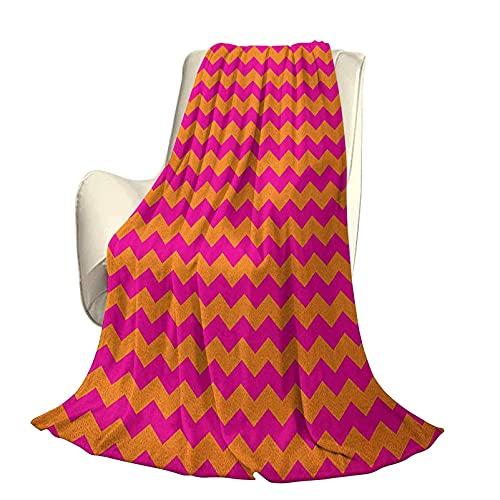 Manta cálida de Felpa Suave Naranja y Rosa Adecuada para Todas Las Estaciones Patrón de Zigzag Horizontal Rayas de chevrón en Colores Vibrantes Viajes geométricos Uso de Oficina en casa A60