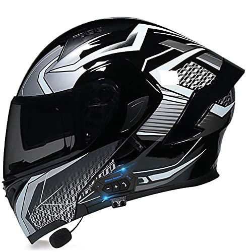 Tazyee Casco de Moto Modular con Bluetooth Integrado, ECE Homologado Casco Modular Moto Hombre Mujer Adultos, Cascos Modulares con Doble Visera para Motocicleta Scooter, M~XXL