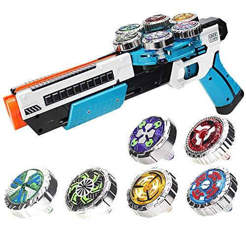 OBEST Peonzas con Lanzador Juguetes Conjunto, 6 Gyro Spinnings de Metal y Launcher de automático, Regalos o Juguetes para Niños