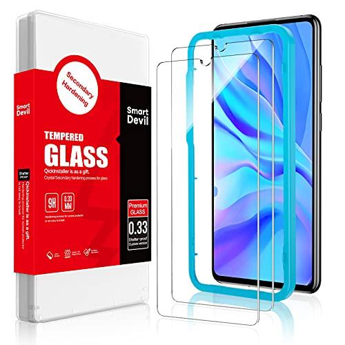 SmartDevil [2 Pack Protector Pantalla de Huawei P30 Lite,Cristal Templado Huawei P30 Lite,Vidrio Templado [Fácil de Instalar] [Alta Definicion] para Huawei P30 Lite