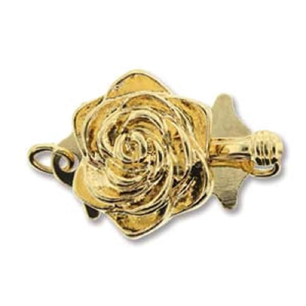 Gold Tone Floral Push Pull Box Clasp - Single- Strand Clasp - 3 Clasps Per Package
