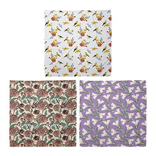ABAKUHAUS Pack de 3 Bandanas Unisex, Regaderas con los pájaros gráfica crisantemos Crocus Ramos Blooming, Multicolor