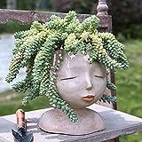 Face Flower Pot Head Planter Indoor Outdoor Cute Flower Pots Resin Planter Face Planter with Drainage Hole