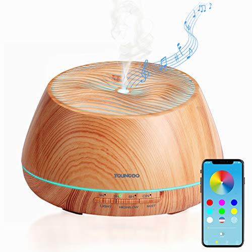 YOUNGDO Aroma Diffuser 400ml, Bluetooth Lautsprecher, APP kabellose Fernbedienung, Nachtlicht, Aromatherapie Maschine, Luftbefeuchter, Raumbefeuchter für Schlafzimmer, Büro, Yoga, Spa