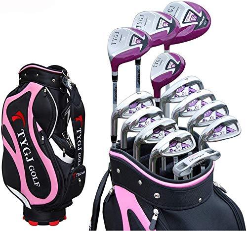POSMA TY-XD6W Damen Golfschläger Komplettset 13-teilig Graphitschaft Schaft, Damen Club, Anfänger, komplettes Set von Übungsstangen, mit Golftasche, für Linkshänder