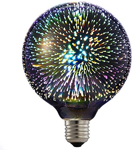 億騰 花火電球 ファッション 3D LED電球AC85-265V 装飾電球 G95テーブルランプ 電球シーリングライト 電球ナイト 家の装飾 バー KTV 飲食店 クリスマス 誕生日 電球 (銀)