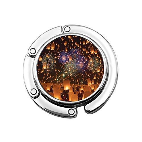 SDxingyuan - Gancho para bolso plegable para mesa, diseño de farolillos de cielo y fuegos artificiales, flotantes y globos de aire caliente