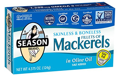 Season Skinless and Boneless Fillets of Mackerel in Olive Oil, 4.375-Ounce Tins (Pack of 6)