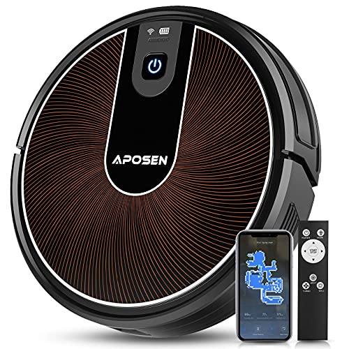 APOSEN Robot Vacuum, Smart WiFi Mapping Robot Vacuum Cleaner, 2200Pa Strong Suction But Quiet Robotic Vacuum Cleaner with Self Charging, Ideal for Pet Hair, Carpet, Hard Floor, Compatible with Alexa
