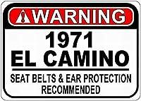 金属サイン1971年のシボレーエルカミーノシートベルトベルトティンサイン警告