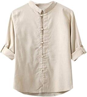 neveraway Men Shirts Big & Tall Breathable Vintage Single Breasted Shirt