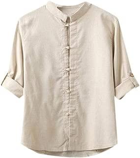 Mogogo Mens Longshirt Vingtage Cotton Linen Chinese Style T-Shirt Top