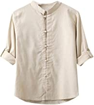 Howely Men Cotton Linen Breathable Plus-Size Single Breasted Shirts Tops